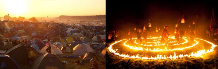 Tents at Glastonbury Festival (left). Located on Worthy Farm in the marshy Somerset Levels, the event ...