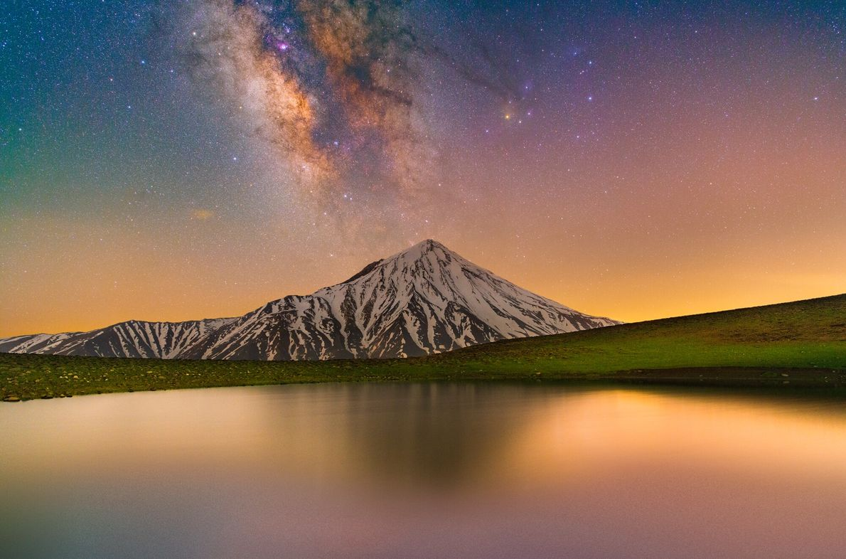 Featuring both the Milky Way and light pollution from nearby Tehran, this shot of Mount Damavand ...