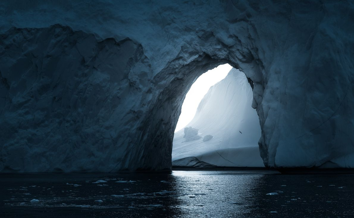 "Stian Klo: ""This is an arch in the iceberg I'd photographed earlier with my drone – ..."