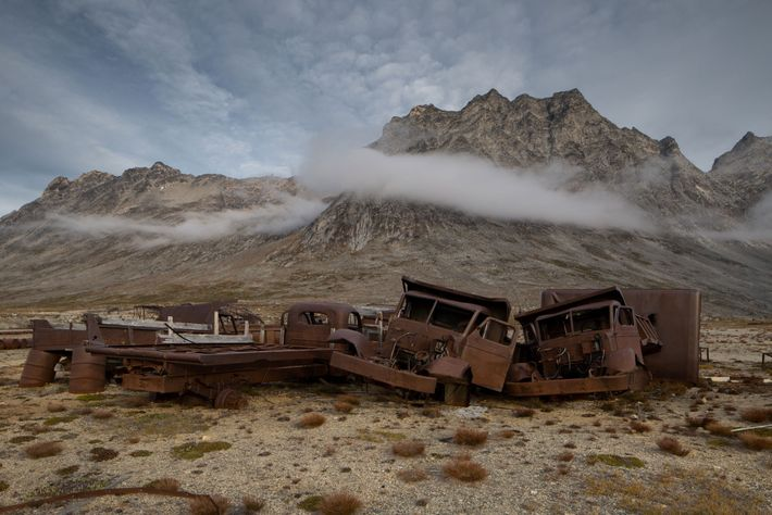 Military vehicles are among the vast amount of debris left behind by the U.S. military at ...