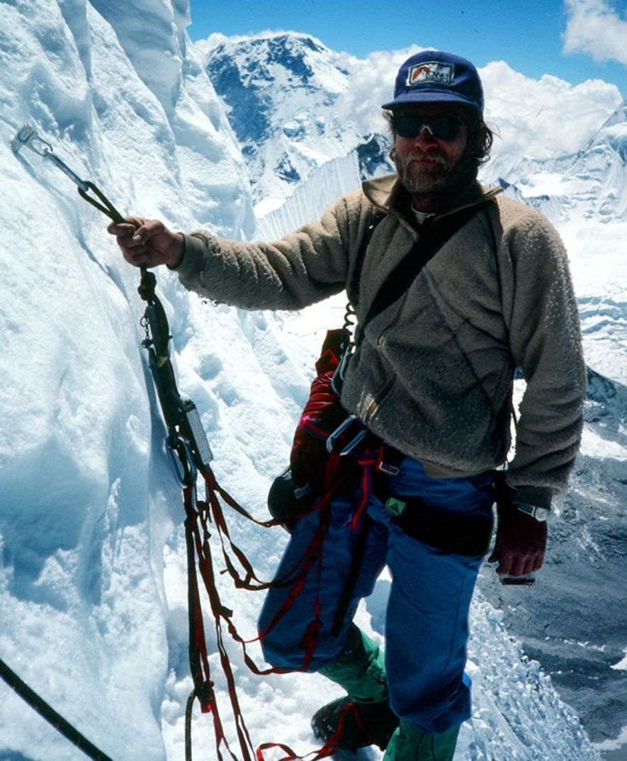 Greg Lowe on Ama Dablam, Nepal, with LAS Hat, harness, fleece, Goretex pants, gaitors and hardware ...