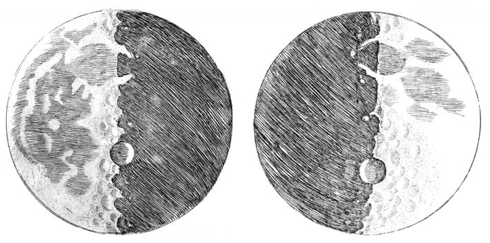 Moon drawings from Siderius Nuncivs by Galileo Galilei, 1610. At the time the moon was believed ...