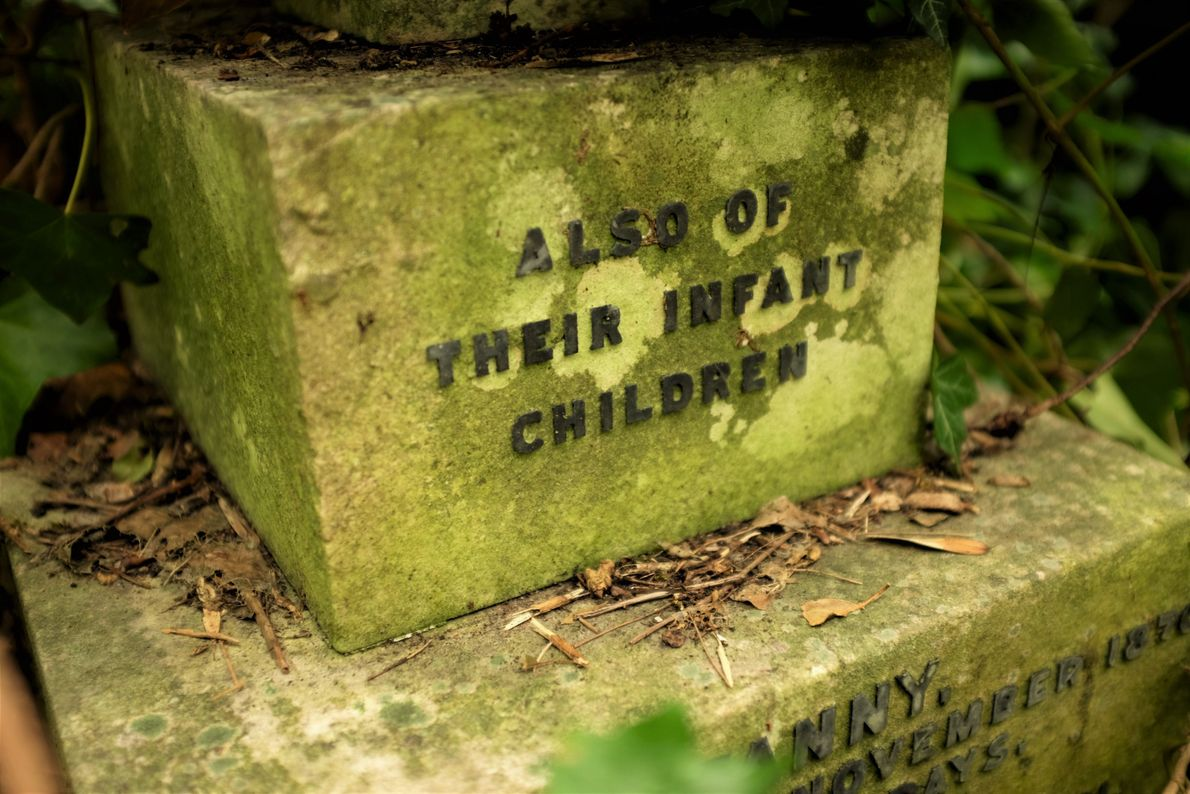 """Katie Thornton: """"Cemeteries illustrate changing family structures and domestic realities. This grave marker at London's Highgate ..."""