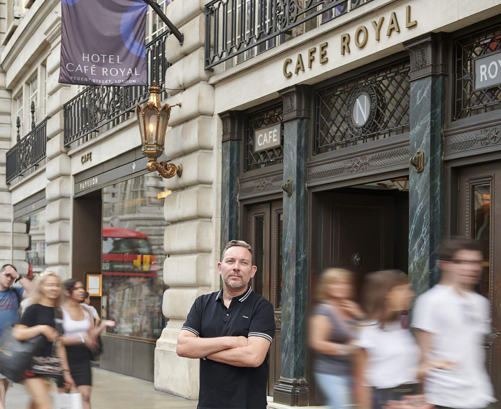 Albert Adrià outside Hotel Café Royal