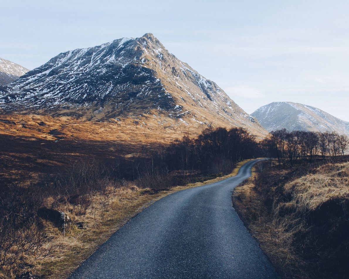 The singletrack road leading from Glen Coe into Glen Etive.
