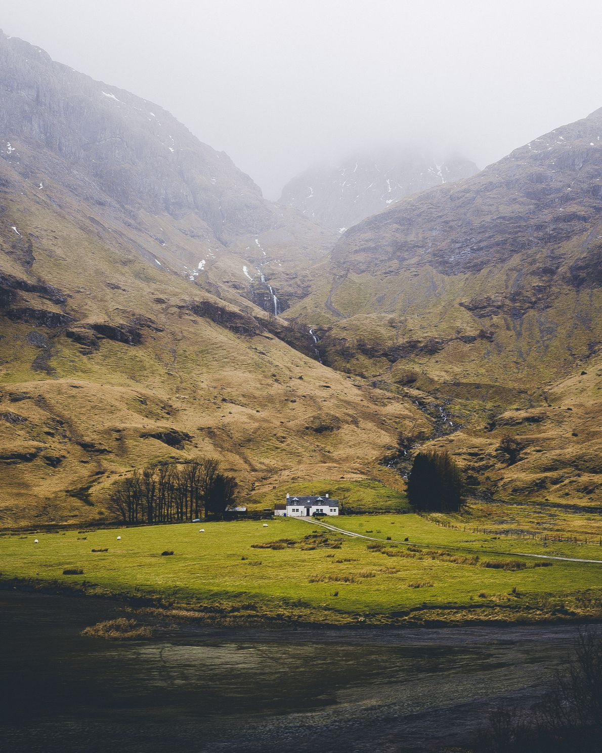 """A solitary white house beneath the towering heights of Glencoe. Daniel Alford: """"This is maybe the ..."""