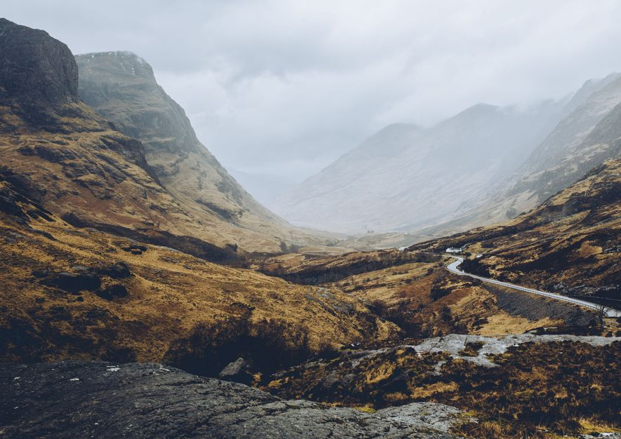 The glen runs east-west with steep mountains on either side. On one side runs the famous ...