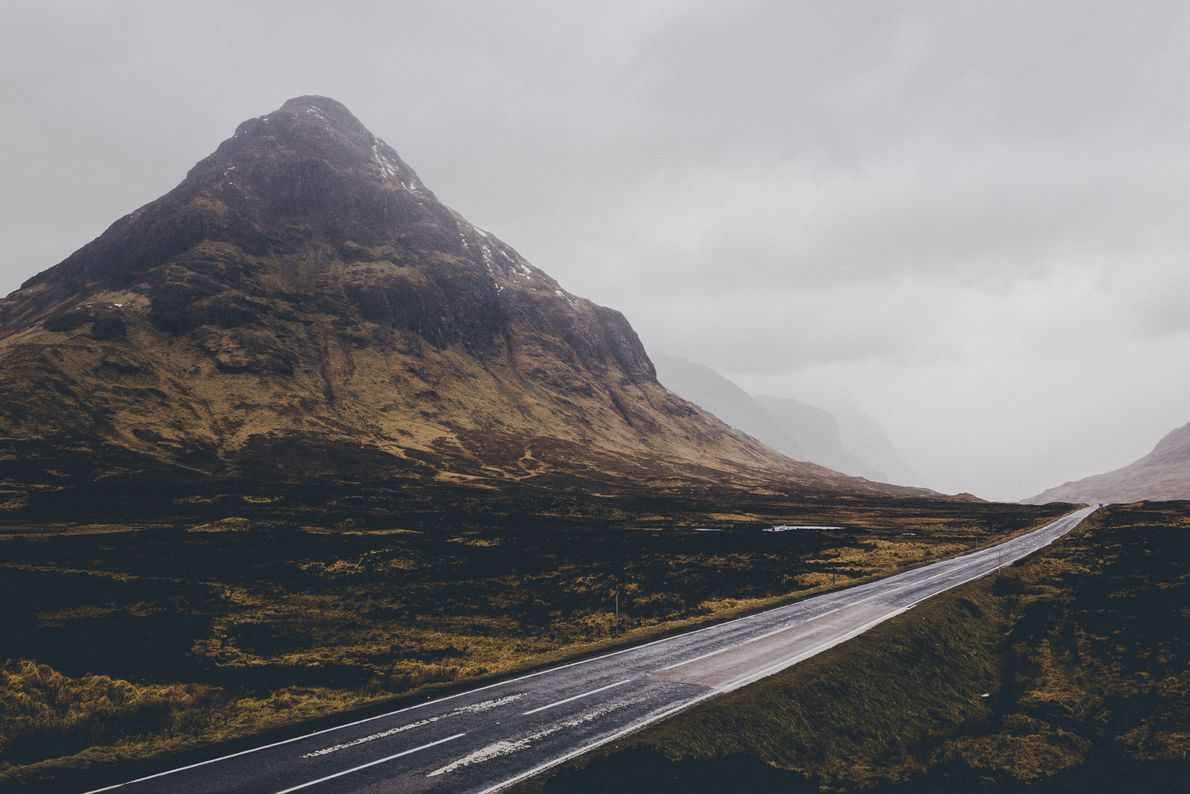 Arrow-straight as it passes the sentinel mountain of Buachaille Etive Beag, the A82 road divides runs ...