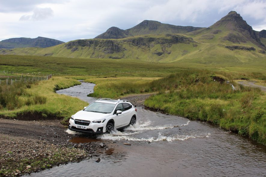 Subaru SUV negotiates a waterway on Skye