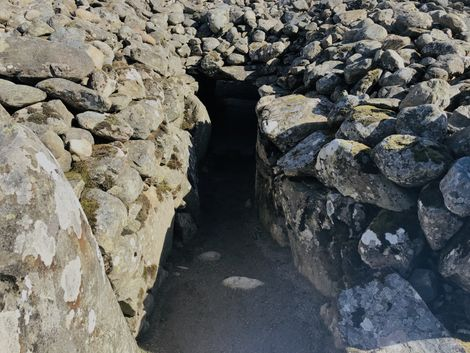 The entry portal to a chambered cairn in north-east Scotland, site of a ceremonial burial of ...