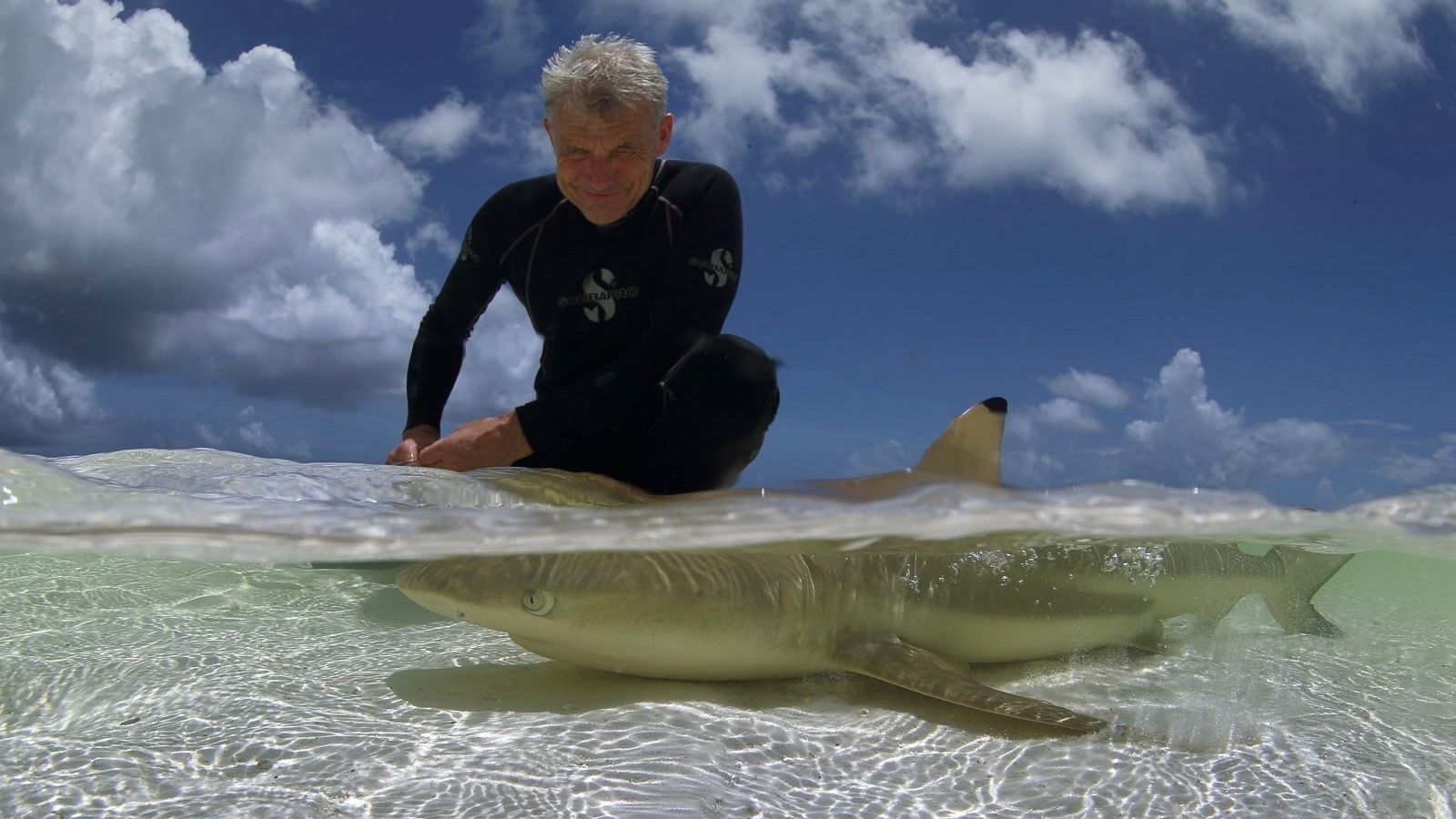 Paul with a black tip shark in Aldabra Lagoon while leading the Pristine Seas Seychelles expedition.