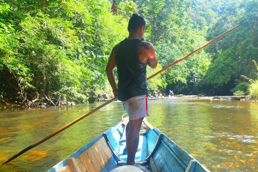 Ronny steering an Iban longboat