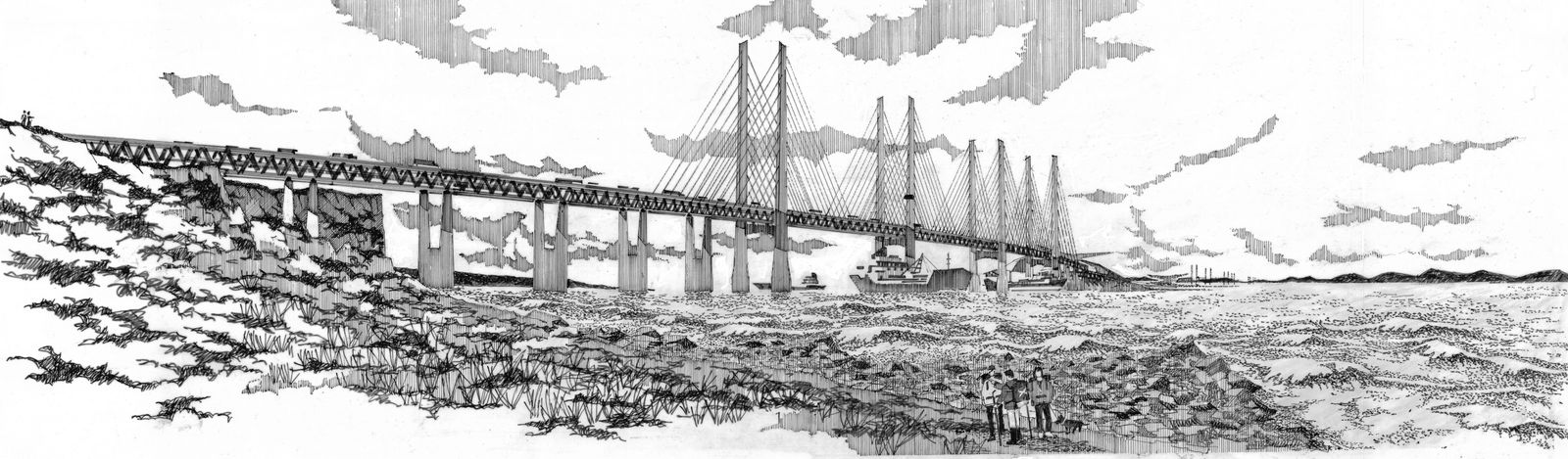 Architect Alan Dunlop's visualisation of a possible suspension bridge between Scotland and Northern Ireland.