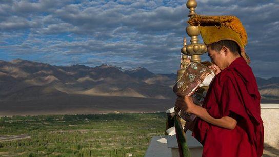 Greeting the sunrise, Thiksey Monastery, Ladakh, India