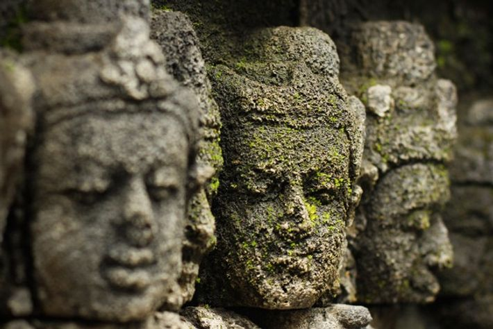 Carved stone relief, Borobudur, Indonesia.