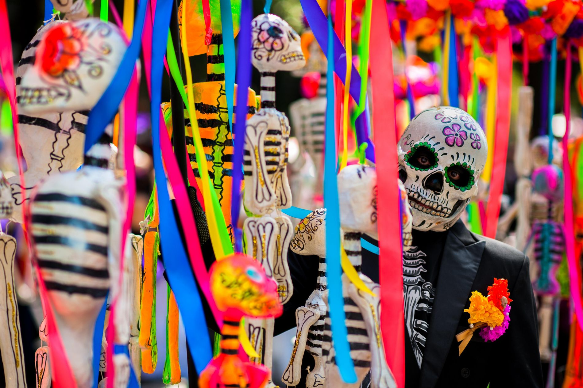 A reveller celebrates Day of the Dead dressed as a calaca, or skeleton.