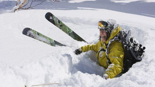 Skier in the snow, Hokkaido.