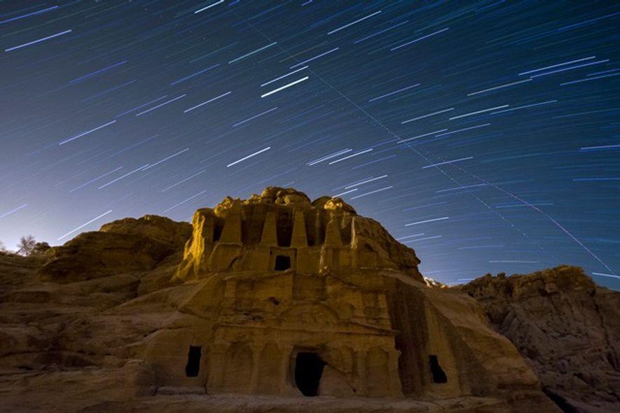 Star trails over Petra, Jordan.
