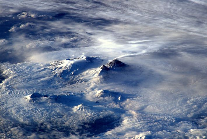 Ash pours from the crater of a volcano on Russia's Kamchatka Peninsula.