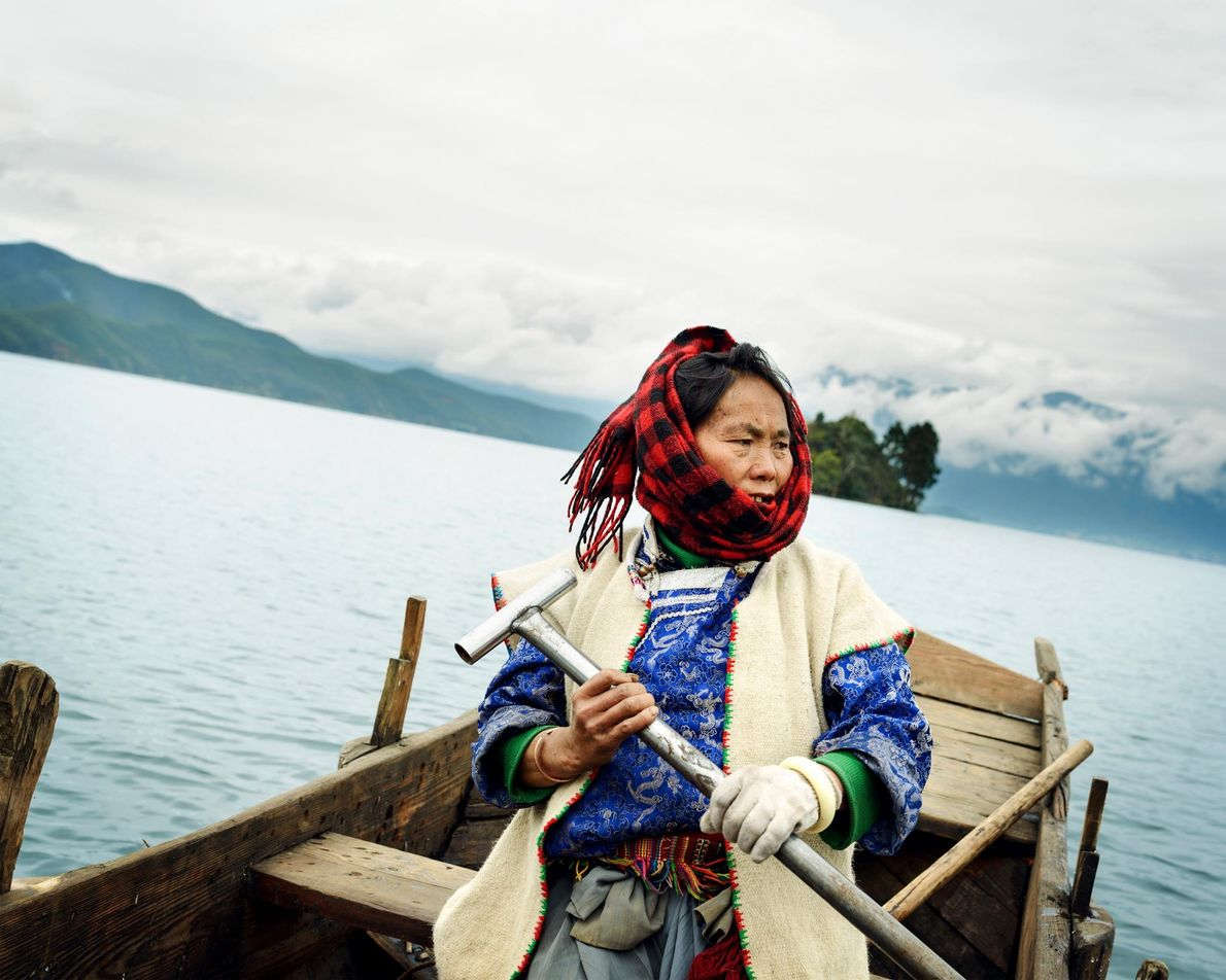For the Mosuo, old wooden boats are still an important means of transportation. No motorboats are ...