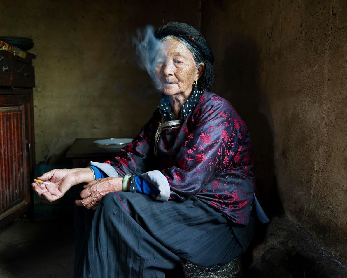 """Sada Dorma, 77, from the village Yixi: """"Some years ago, many tourists came to our village ..."""