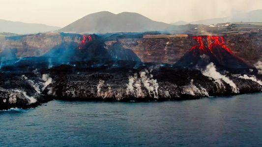 Lava forms a delta at La Palma