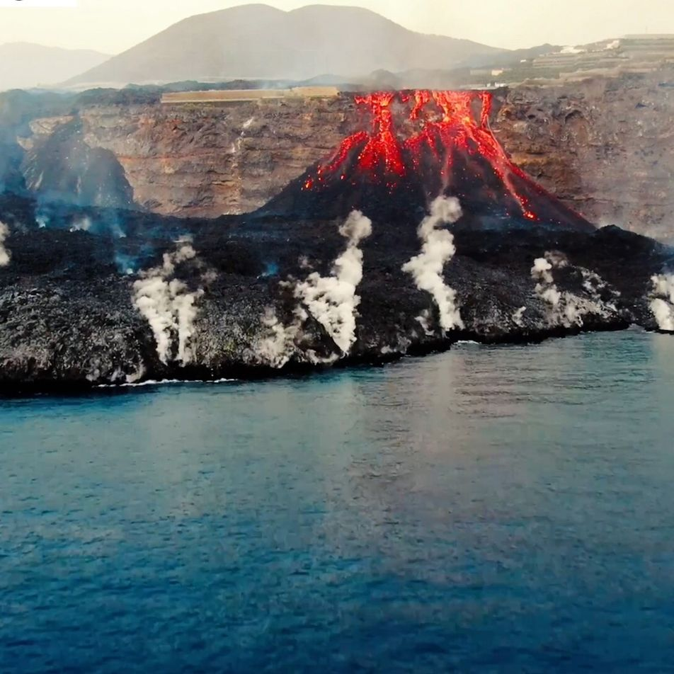 The lava of La Palma`s volcano, as seen by a drone