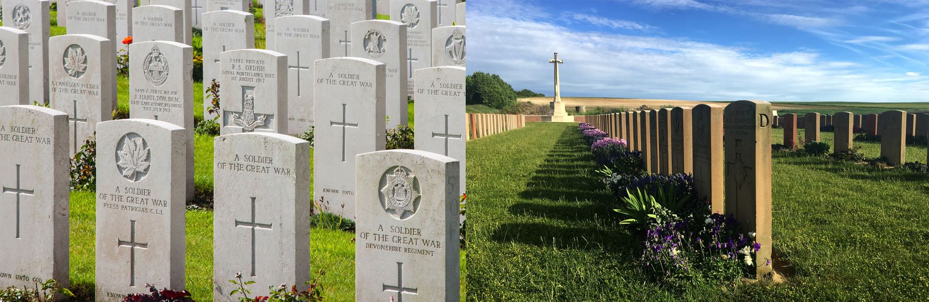 Graves in Belgium and France stand identified and anonymous together.