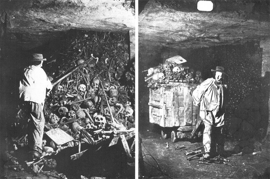 Gaspard-Félix Tournachon, known as Nadar, pioneered early magnesium flash photography in the catacombs in the 1860s, depicting workers depositing bones.