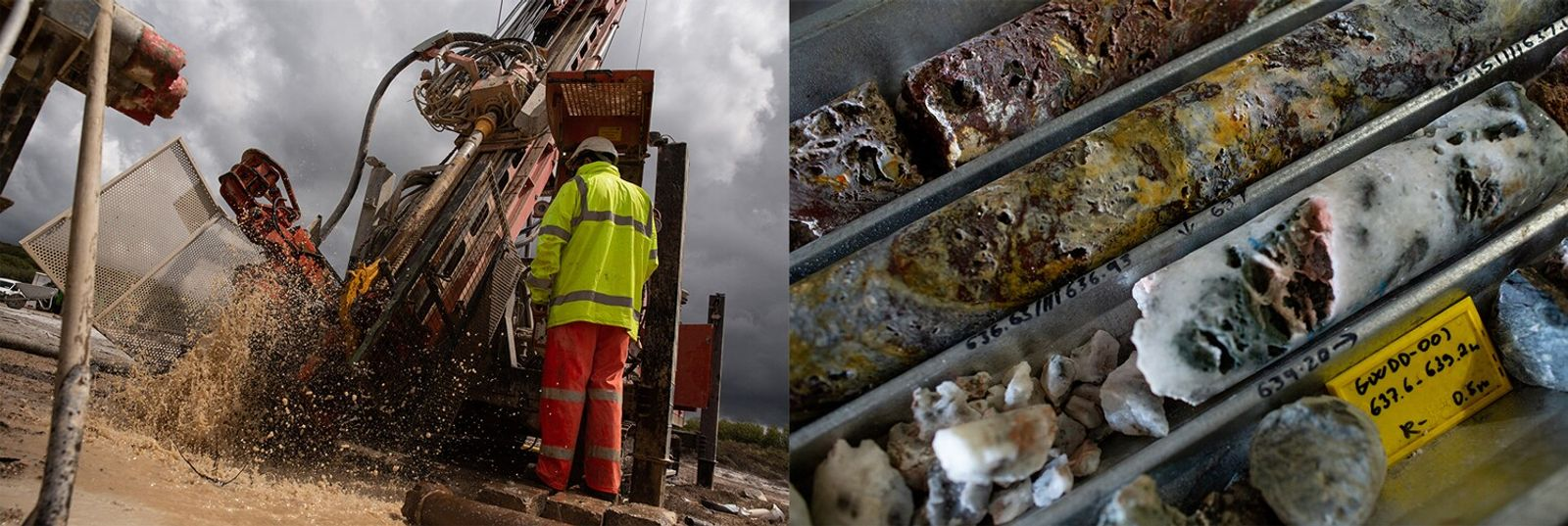 Left: At Trelavour, water is cleared from a borehole for rock core drilling (right).