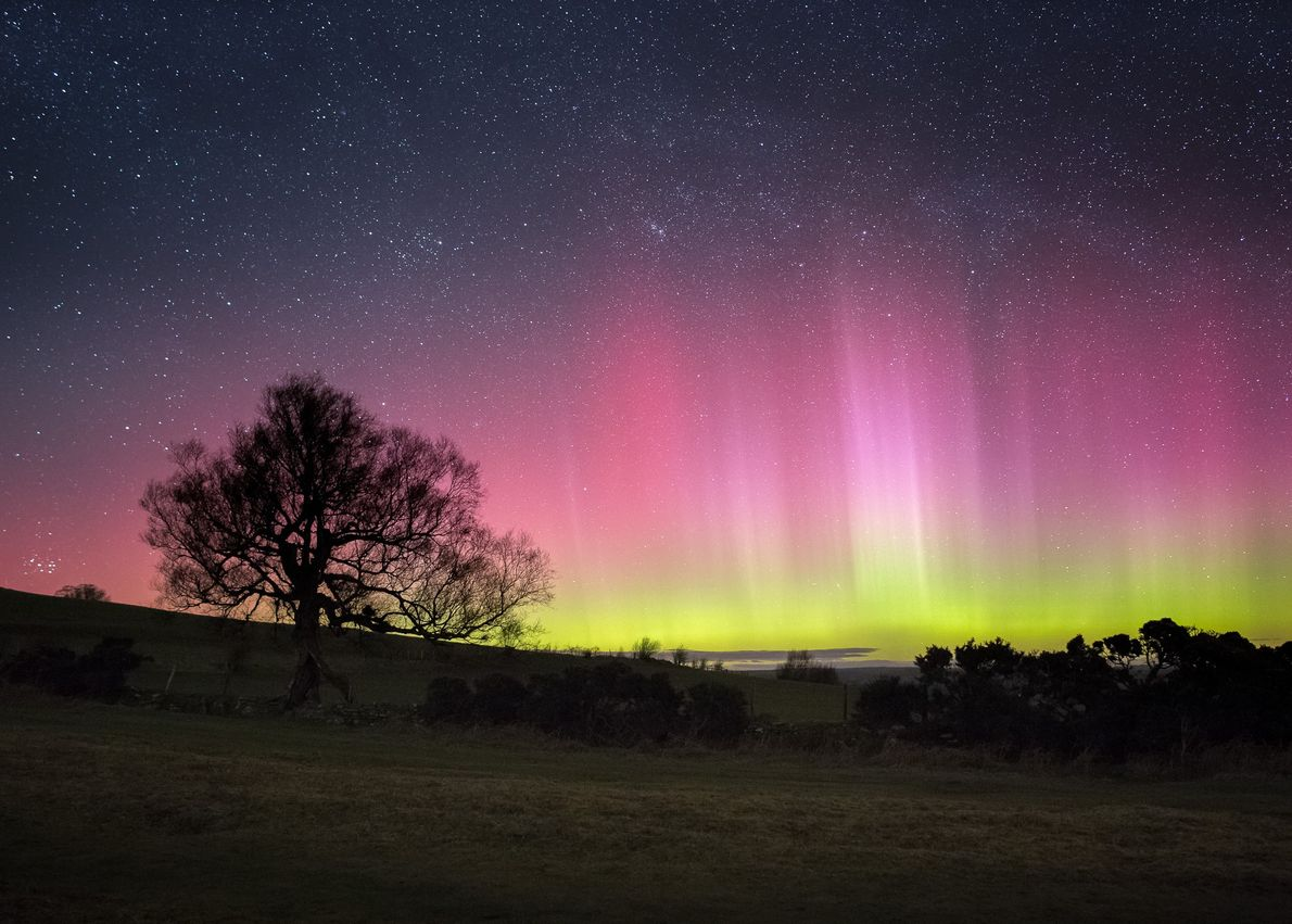 The aurora borealis, or northern lights, seen from the Brecon Beacons Dark Sky Reserve (51° N) during ...