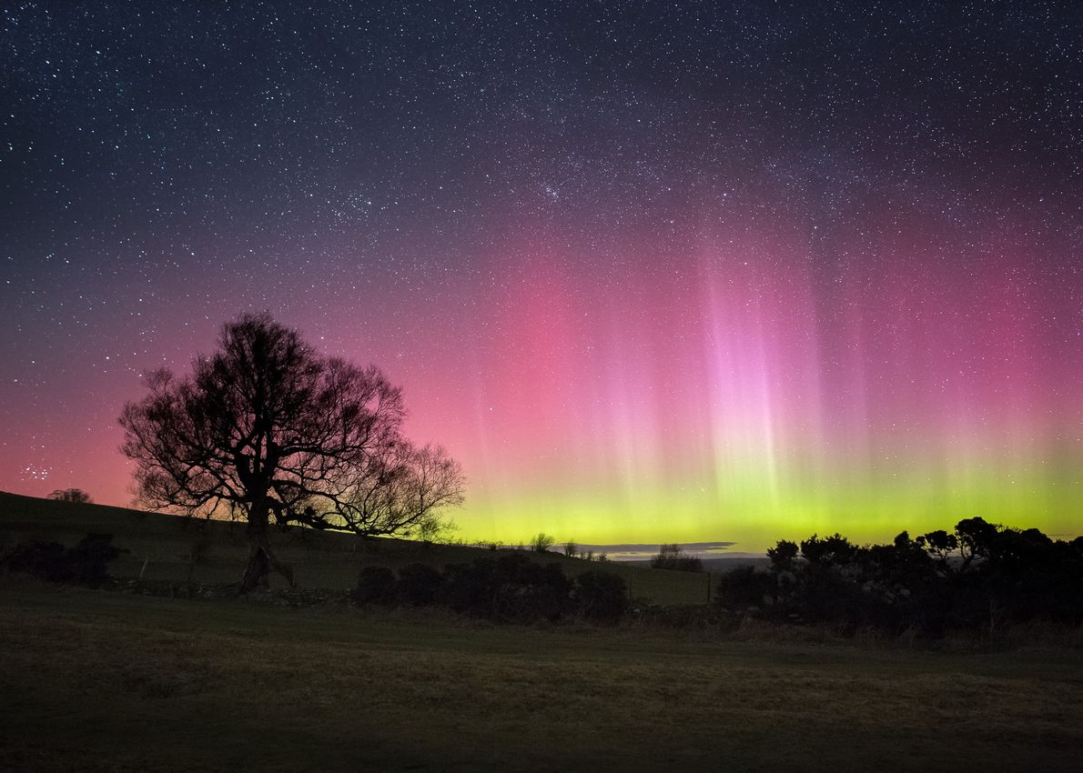 The aurora borealis, or northern lights, seen from the Brecon Beacons Dark Sky Reserve (51°