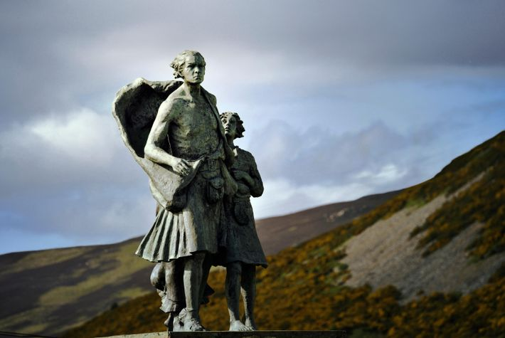 A sculpture commemorating the Highland Clearances in Sutherland, Scotland. The Clearances – evictions from rural areas ...