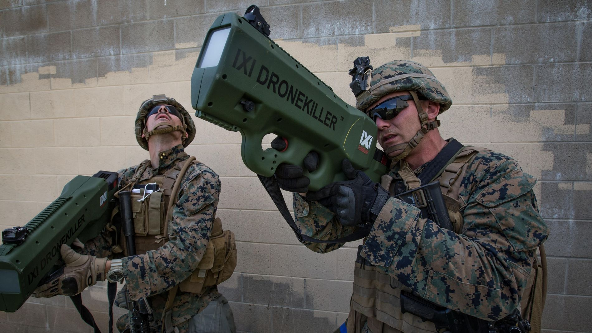 U.S. Marine Corps Lance Cpl. Briar Purty tests IXI Drone Killer during a training exercise in ...