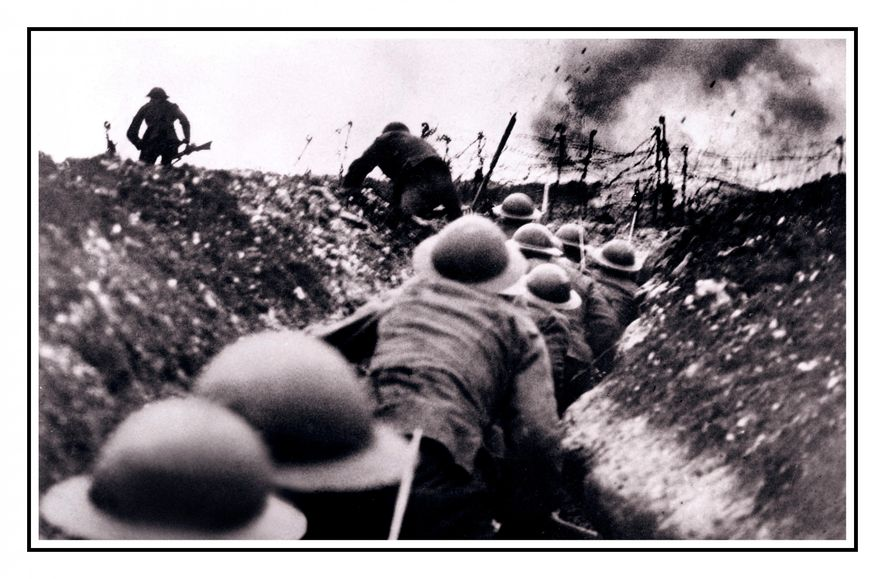 Soldiers go 'over the top' during the Battle of the Somme. Conditioned by conservative societal customs, the violence and magnitude of the loss caused by World War 1 was too much for post-Victorian society to comprehend.