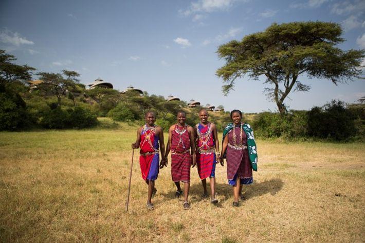 Maasai people smiling