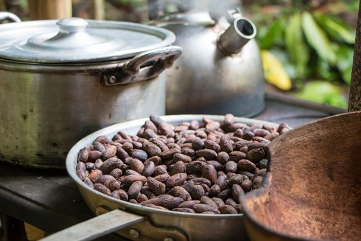 Making chocolate from cocoa beans, part of the costa rican cuisine