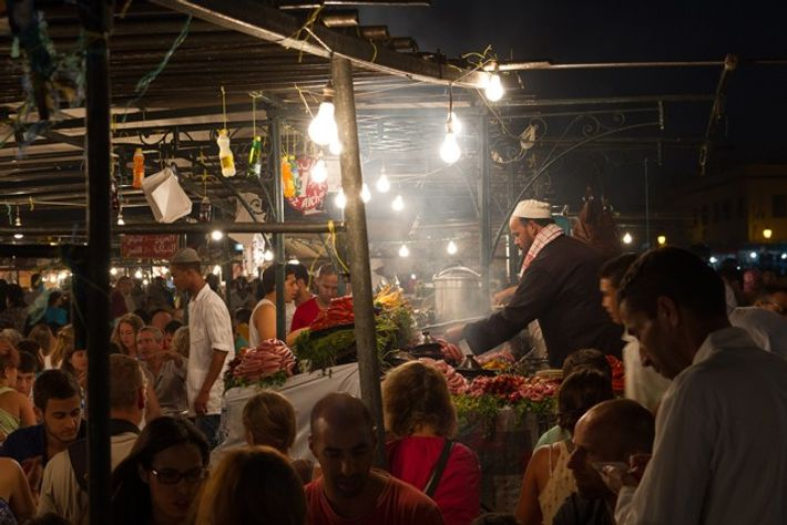 Food market at Jeema el Fna square, Marrakech. Image: Slawek Kozdras.