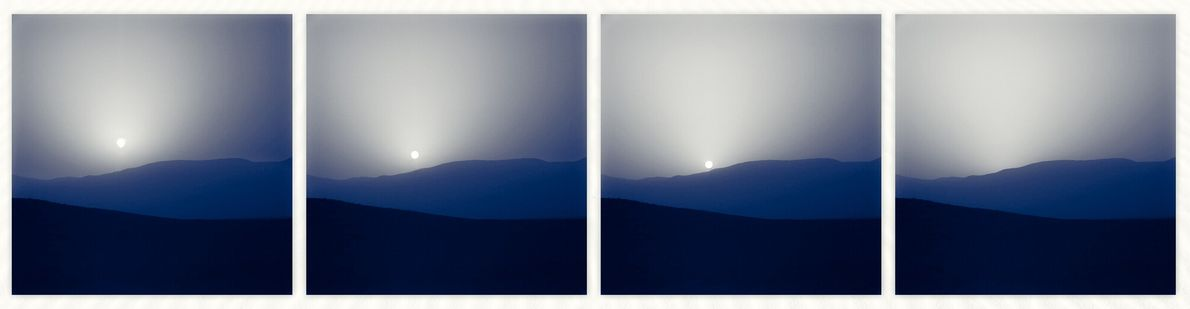 A four-image view of a Martian sunset captured by the Curiosity Rover in 2015 was selected from ...