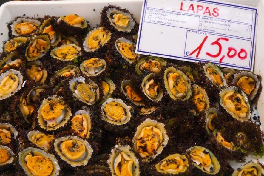 Limpets for sale at the Mercado da Ribeira. Image: Audrey Gillan
