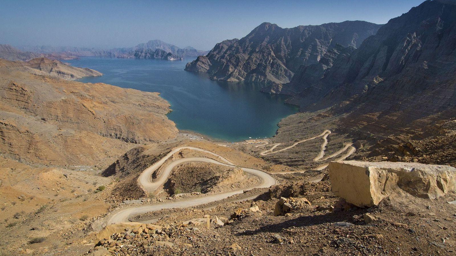 The Musandam Peninsula is jagged with khors, fjord-like inlets where dolphins play.