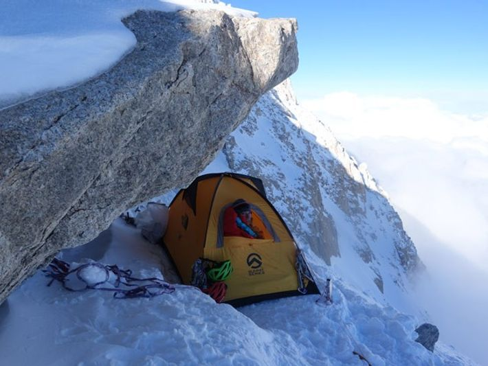 Hilaree Nelson O'Neill looks out from a makeshift camp at about 18,500 feet on the Casino ...