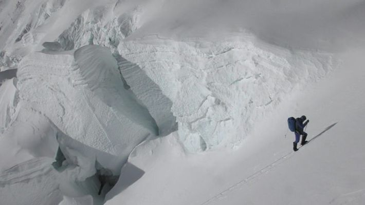 Kilian Jornet passing through Camp 2 during his first ascent of Mount Everest