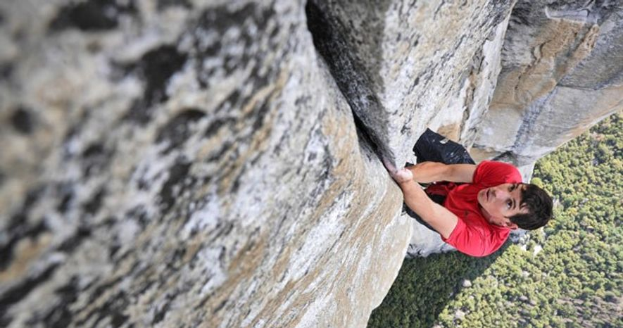 Rock climber Alex Honnold trains on the Freerider route for the first-ever rope-free ascent of El ...