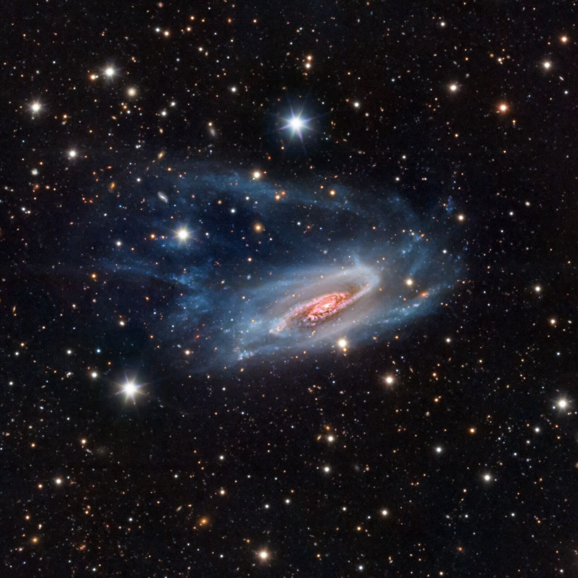 A spiral galaxy 65 million light years away, this image was captured from a telescope installation ...