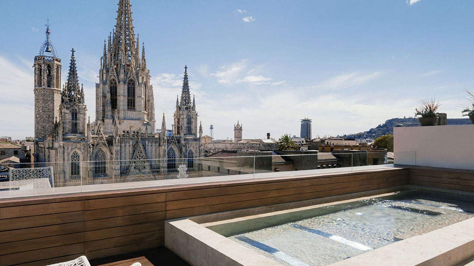 Rooftop pool overlooking city