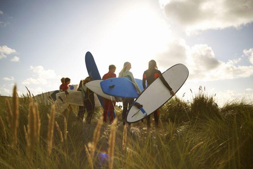 Family surfing break.