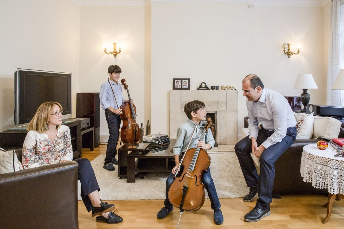 Turkey: Altuğ Yalin with his wife Elif and their sons, Berkay, 10, and Arda, 8.
