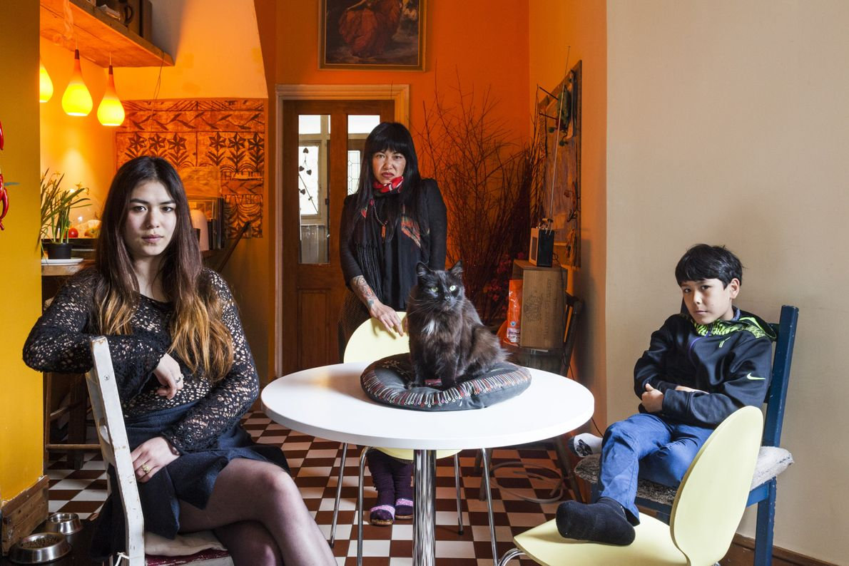 New Zealand & China: Lesley Chan with her daughter Django and son Marlowe.