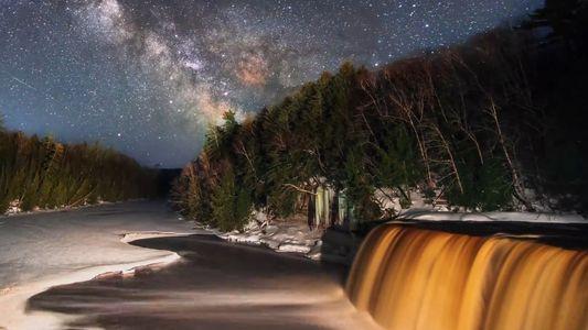 Watch the Milky Way Cross the Sky Over Michigan's Tahquamenon Falls